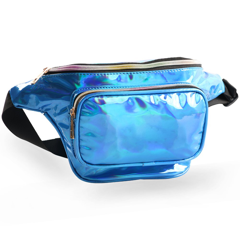 Mum's memory Metallic Hologram Fanny Pack - Outdoor Sport Waist Pack for Running, Hiking, Traveling for Women and Men (Blue) by Mum's memory