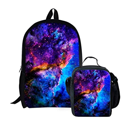 859260cb373b Ledback 3D Galaxy Kids Lunch Bag and Backpack ,Insulated Lunchbox Black  Lunch Box for Children Boys Girls 16 Inch School Bag with Bottle Holder ...
