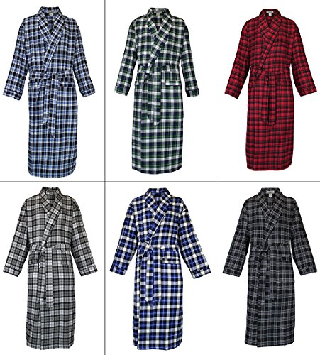 Robes King Classical Sleepwear Men's 100% Cotton Flannel Shawl Collar Robe,