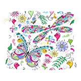 Dragon Sword Valentine Floral Butterfly Dragonfly Gift Bags Jewelry Drawstring Pouches for Wedding Party, 5.5x5.5(in)