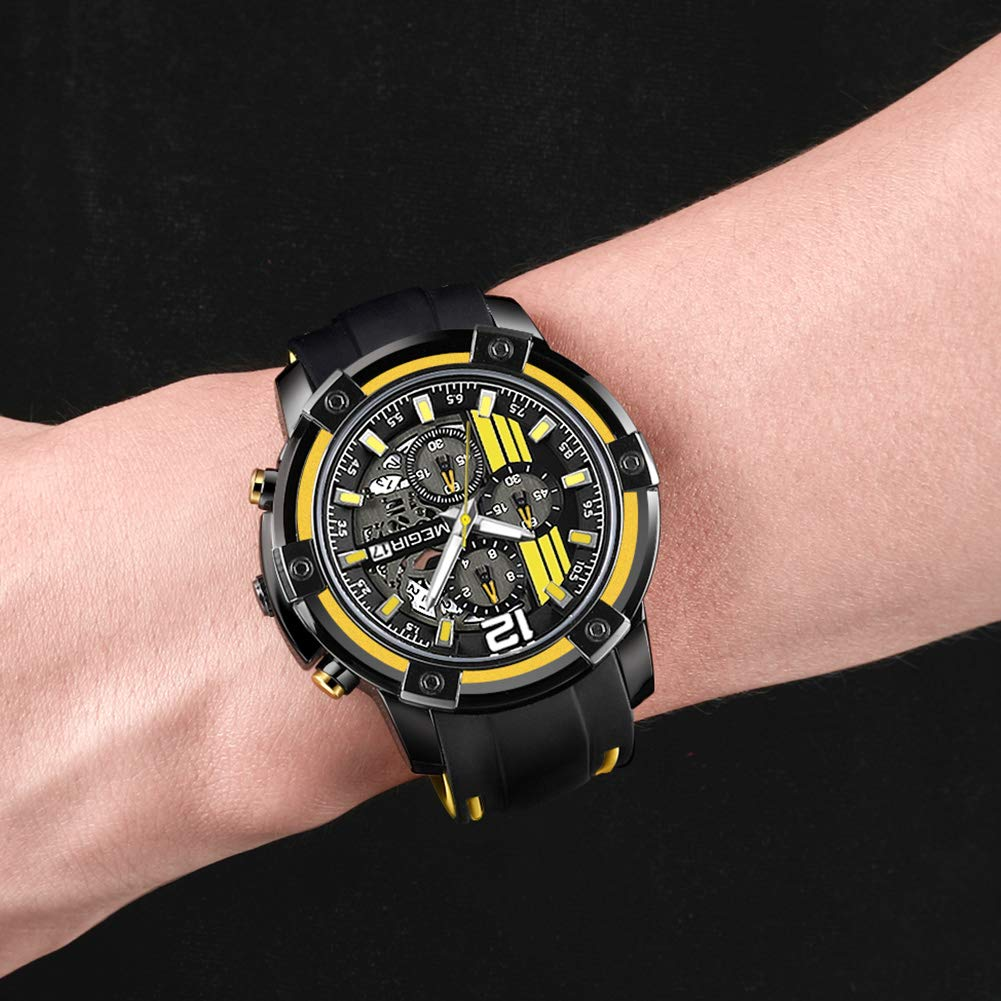 Amazon.com: MEGIR Mens Analogue Army Military Stopwatch Calendar Luminous Quartz Watch with Stylish Casual Silicone Strap for Sport & Business Work ...