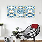 Liguo88 Custom canvas Traditional House Decor Tunisian Mosaic with Azulojo Spanish Influence Authentic Retro Islamic Wall Hanging for Bedroom Living Room Blue