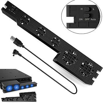ICQUANZX PS4 Pro Cooler, USB Externo Ventilador de enfriamiento de ...