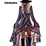 Dress Sukibandra Womans Fashion 2017 V Neck Maxi Long Floral Vintage Boho Dress Long Sleeve Bohemian