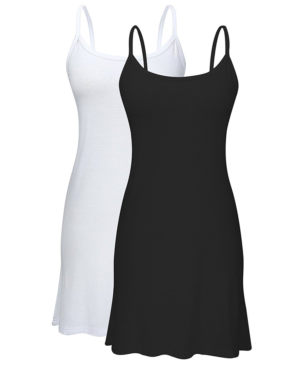 Zando Women Casual Plus Size Basic Solid Long Length Strap Tank Top Sleeveless Mini Dress Cami Dress T-Shirt Dress Tunic 2 Pack - Black White US 20-24 by Zando