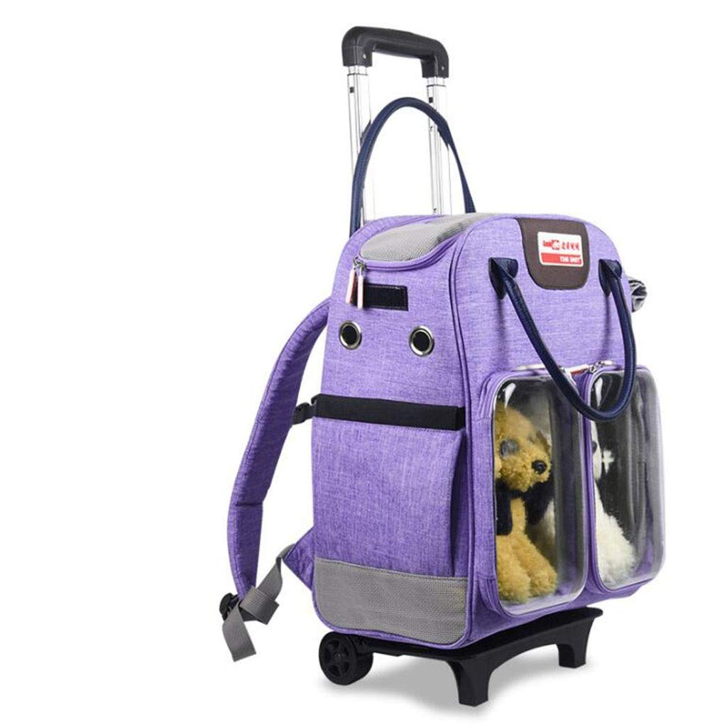 Purple GJ High-end Pet Backpack Pet Trolley Case Multi-function Dog Out Backpack Multi-pet Backpack (color   Purple)