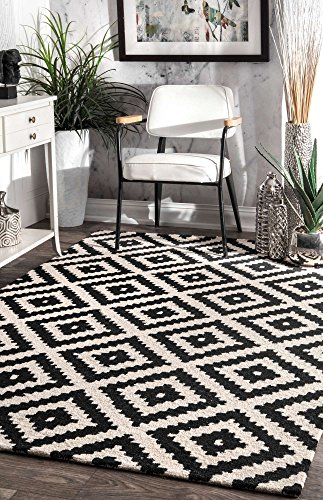 (nuLOOM Contemporary Kellee Diamond Wool Rug, 5' x 8', Black)