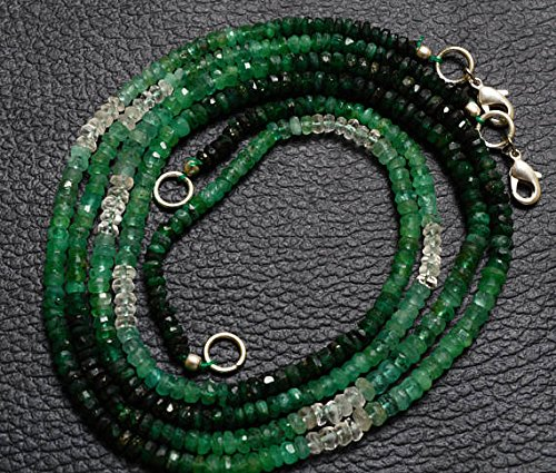 1 Strand Natural 18 inches Stands AAA Gems Quality Natural,Super Rare Multi Emerald Faceted Roundels Beads Necklace 3.5 to 4 MM