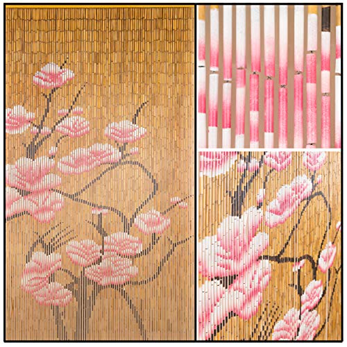 BeadedString Natural Bamboo Wood Beaded Curtain-90 Strands-78 (6.5 ft) High-Boho Door Beads-Bohemian Doorway Curtain-Blossom (Beaded Blossom)