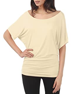 39431805fd45c TWINTH Shirring Tunic Top Plus Size Dolman Sleeve Drape Knit Top Boat Neck  Solid