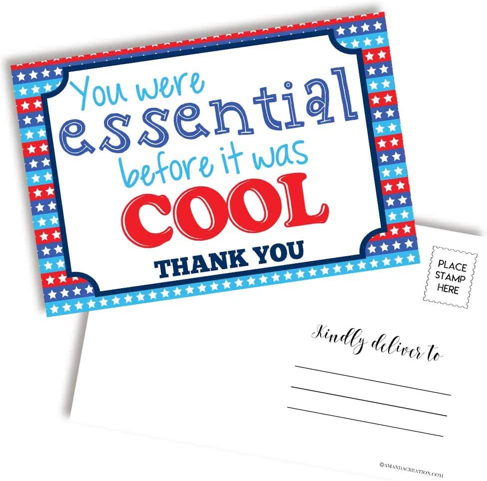 Essential Before It Was Cool Blank Postcards For any Essential Employee - Health Care, Sanitation, Food Service, Transportation; 20 4