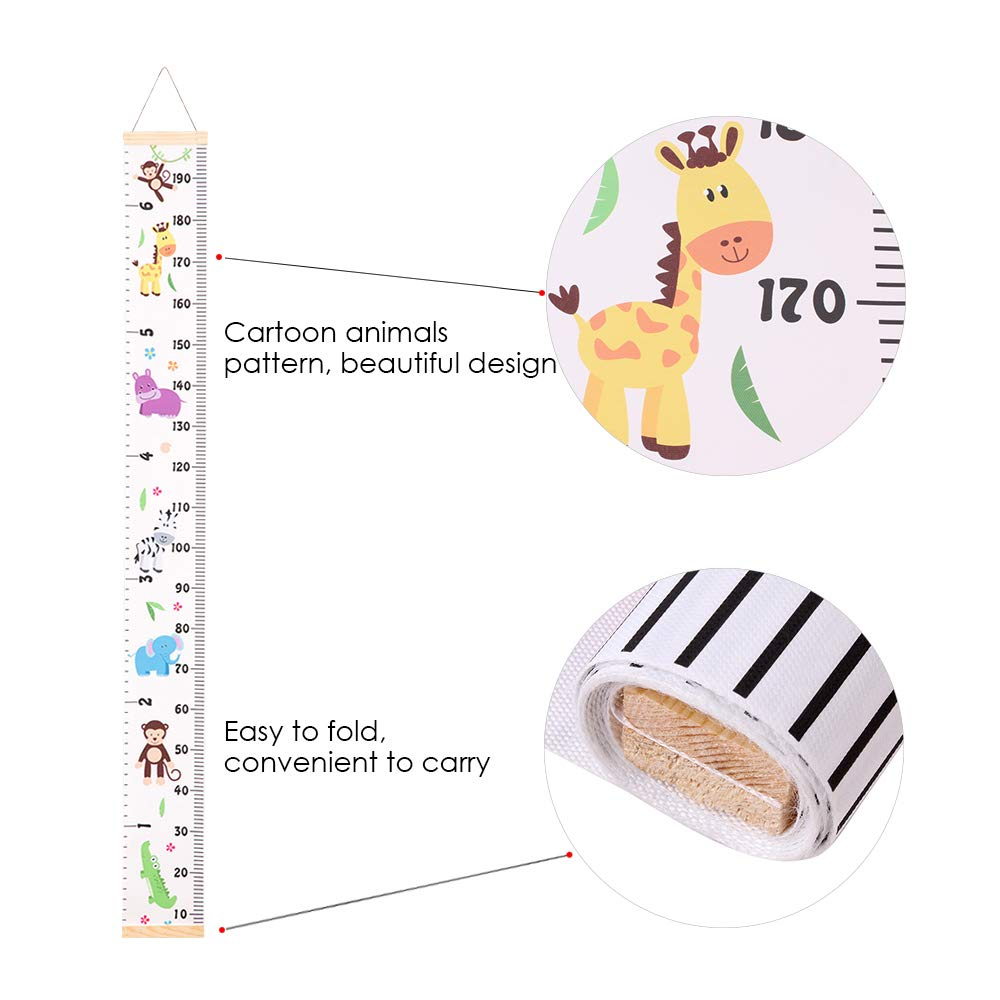 Festnight Growth Height Chart Canvas and Wood Frame Cute Cartoon Animals Handing Removable Wall Ruler for Baby Kids Children Room Wall Decor 78.7 x 8.3