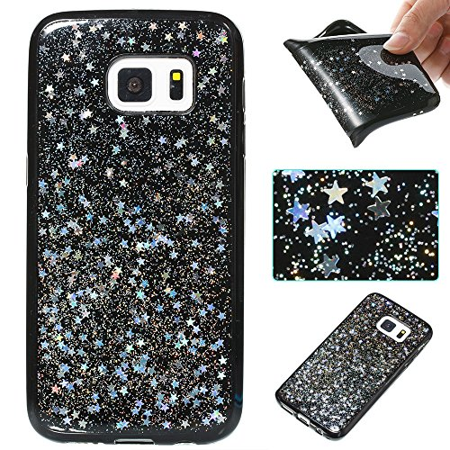 Star Protector Case (Urberry Galaxy S7 Case, Bling Sparkling Starry Glitter Case for Samsung Galaxy S7 with a Free Screen Protector (Silver))