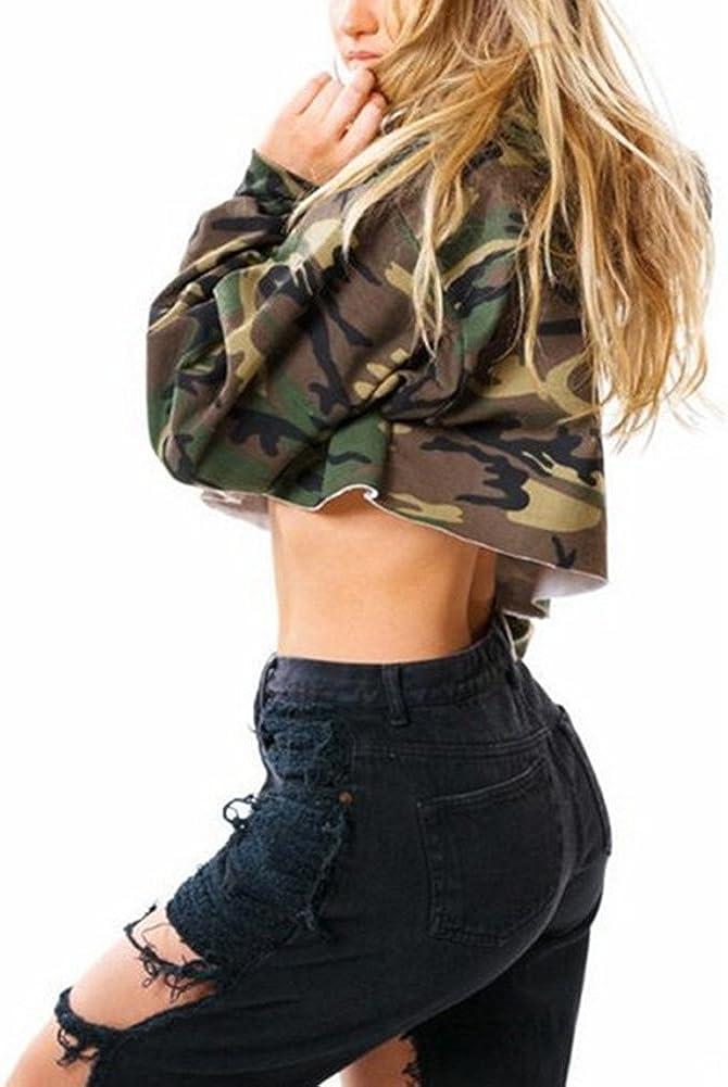 VERYCO Women Hoodies Long Sleeve Hooded Sweatshirt Camouflage Print Crop Tops Loose Pullovers