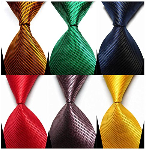 Necktie Accessories - YanLen Pack of 6 Classic Men's Silk Polyester Tie Necktie Woven JACQUARD Neck Ties (Set 2)
