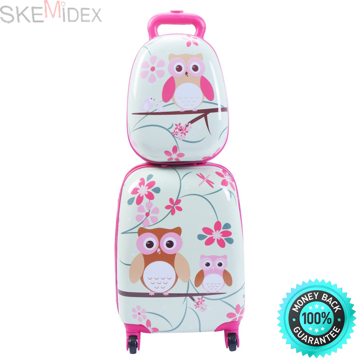 SKEMiDEX---2Pc 12'' 16'' Kids Luggage Set Suitcase Backpack School Travel Trolley ABS New. This adorable luggage set including a cute animal shaped suitcase and backpack is perfect for travel