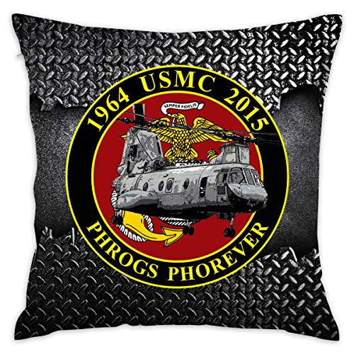 FUTUREFOR USMC CH-46 Commemorative Decorative Square Throw Pillow Covers Set Cushion Cases Pillowcases for Sofa Bedroom Car 18 X 18 Inch 45 X 45 cm