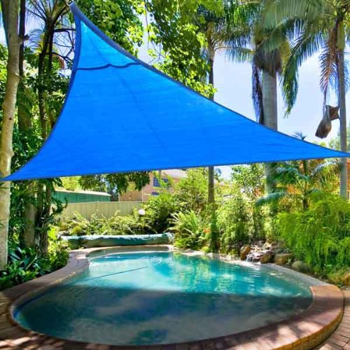 Durable Blue Polyethylene PE Fabric Triangle Outdoor Shade Sail Canopy 16½' Feet Sun UV Block for Park Beach Lake Home Lawn Swimming Pool Spa Overhead Top Cover For Sale