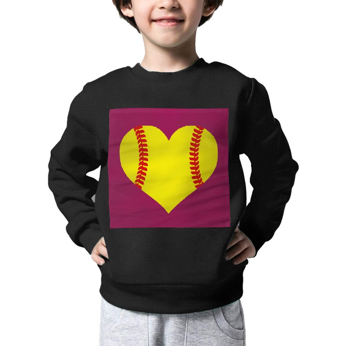 AW-KOCP Childrens Softball Heart Sweater Baby Girls Printed Sweater