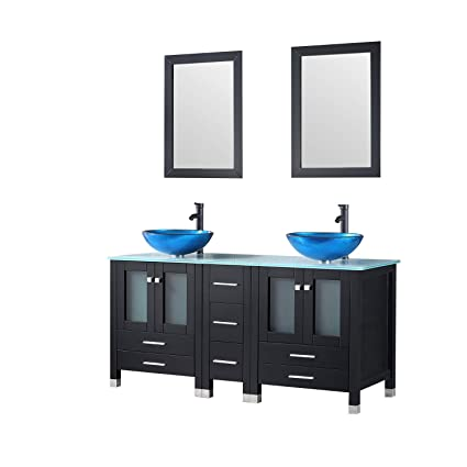 Walcut 60 Inch Bathroom Vanity And Sink Combo Modern MDF Double Cabinet  With Double Glass Vessel
