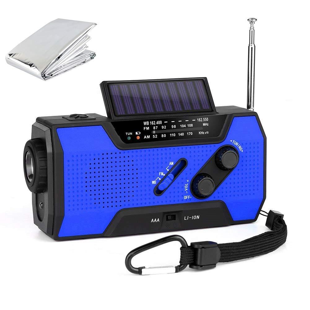 NOAA Weather Radio Hand Crank Solar AM FM 2000mAh Power Bank Emergency Weather Alert LED Flashlight Reading Lamp SOS Alarm with Emergency Blanket (Blue)