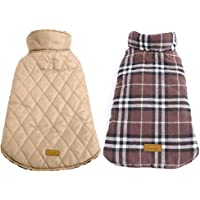 Kuoser Cozy Waterproof Windproof Reversible British Style Plaid Dog Vest Winter Coat Warm Dog Apparel for Cold Weather…