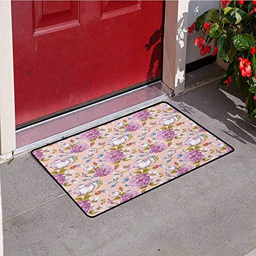 (GloriaJohnson Watercolor Welcome Door mat Vintage Flowers Peony Rose Narcissus Blossoms Romantic Valentine`s Day Theme Door mat is odorless and Durable W15.7 x L23.6 Inch Multicolor)