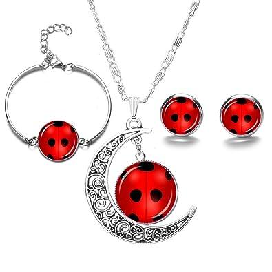 Amazon.com: JoJo & Lin Ladybug Colgante Collar y Pulsera ...