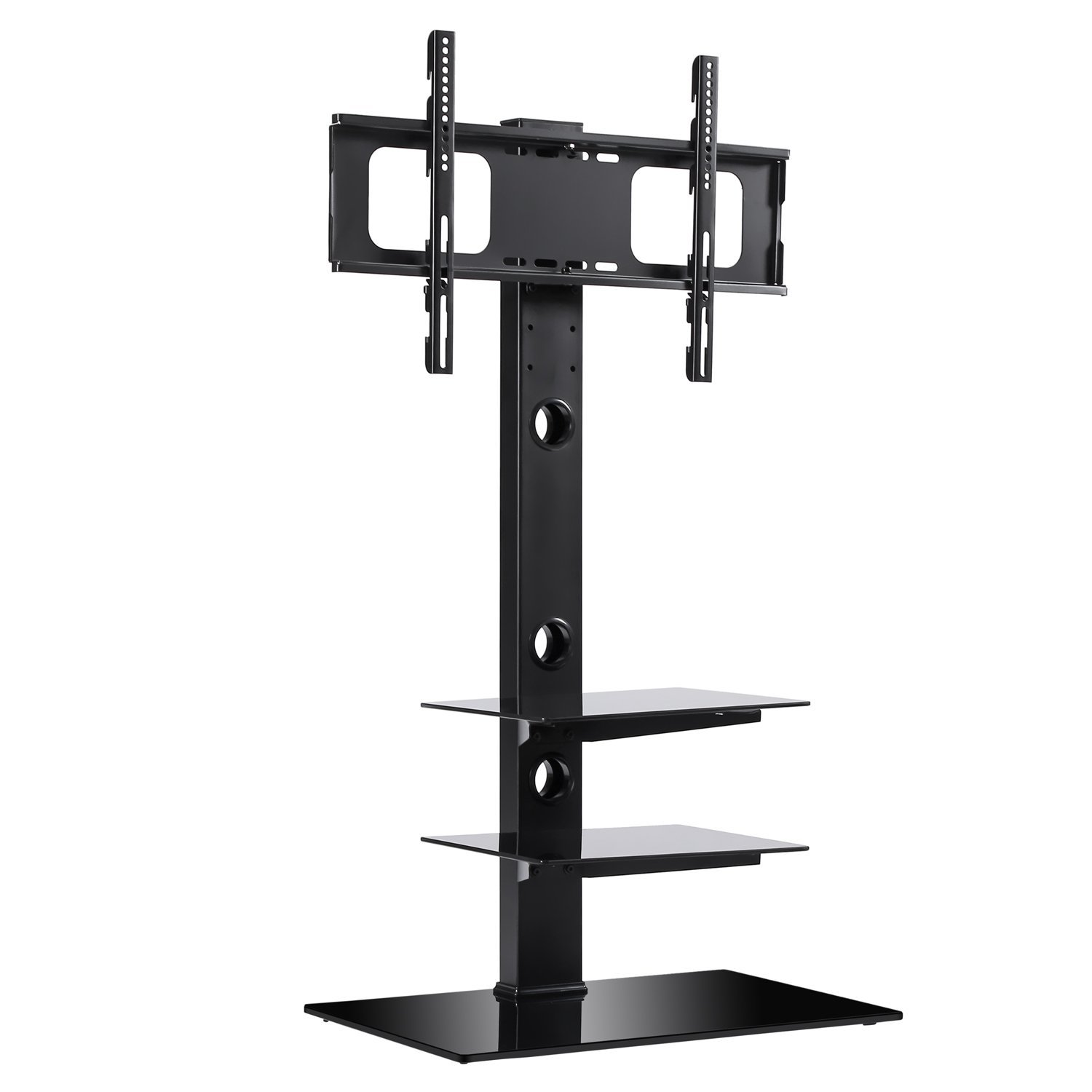 RFIVER Black Floor TV Stand with Universal Swivel Bracket Mount for 32 to 65 inch Flat/Curved Screen TV, Adjustable Height and Three Tempered Glass Shelves TF2002