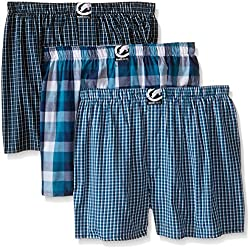 ecko unltd. Men's 3pk Woven Boxers 290, Green/Blue CK, Green Buff Check/Black/Green CK, Small