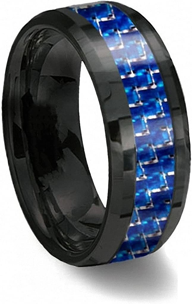Gnex 6mm Tungsten Carbide Ring Silver Blue Turquoise Inlay Polish Beveled Edge Wedding Band 5-11