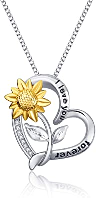 925 Sterling Silver Locket Necklace That Holds Pictures Sunflower Pendant You are My Sunshine Engraved for Women Gifts