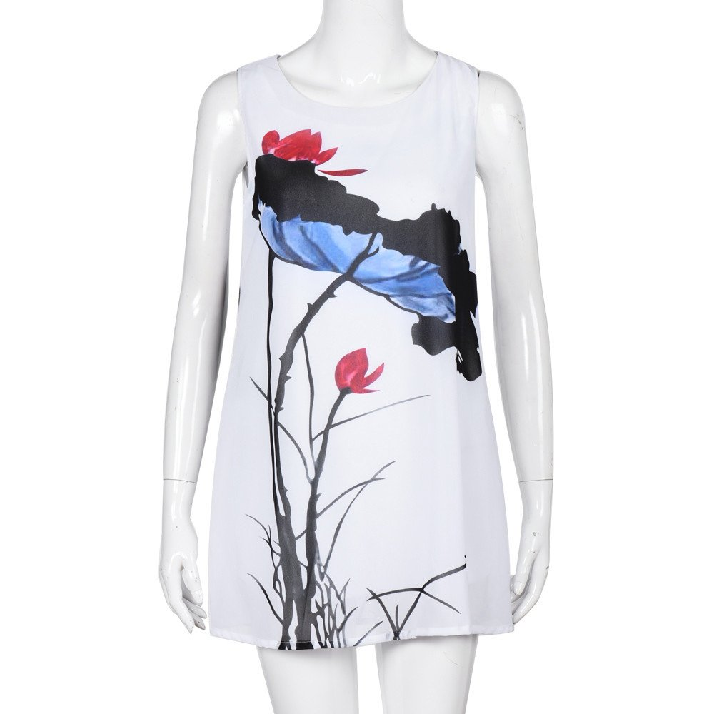 AopnHQ Women Summer Sleeveless Beach Printed Short Mini Dress
