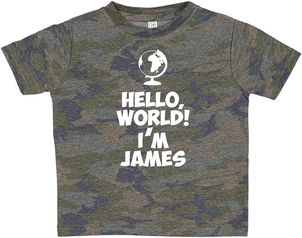 Mashed Clothing Hello Im James World Personalized Name Toddler//Kids Short Sleeve T-Shirt