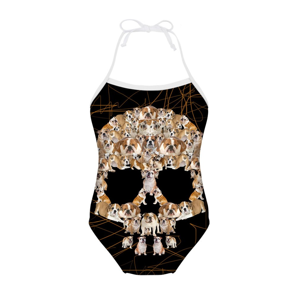 Sannovo Skull Print One Piece Summer Swimsuit for Girl Kid Bathing Suit 7T-8T by Sannovo