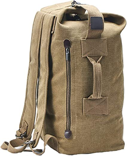 Amazon Com Military Duffel Bag Top Load Double Strap Canvas Backpack Army Travel Upgrade Khaki Small