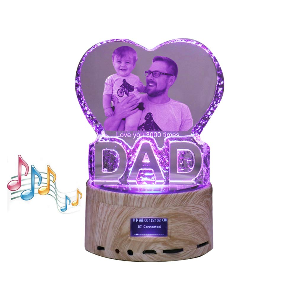 Father Day Personalise Engraved Crystal 3D Dad Colorful LED Light Music Box Bluetooth Base 6 Color Lights Gradient