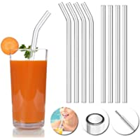 KeyZone Reusable Glass Drinking Straws Set for Milkshakes, Frozen Drinks, Smoothies, Bubble Tea, Juice