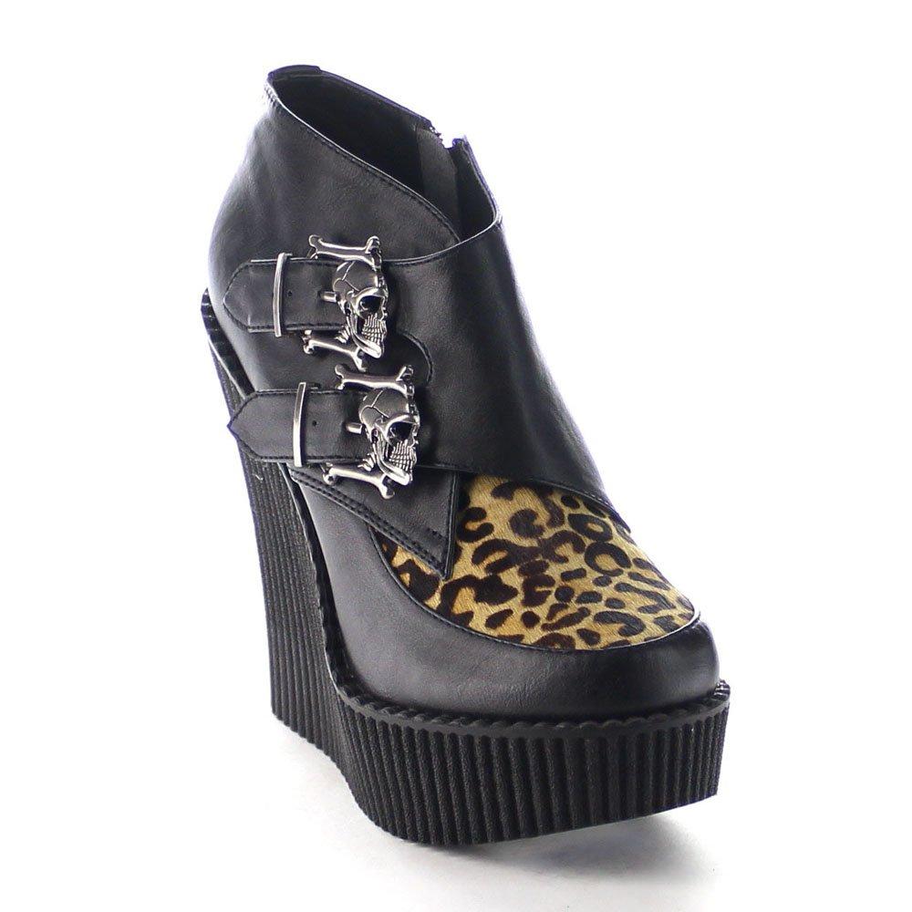 Demonia Women's Creeper 306 Vegan Leather Platform Wedges B017U9YQTO 8 B(M) US Black Vegan, Tan Leopard Printed Pony