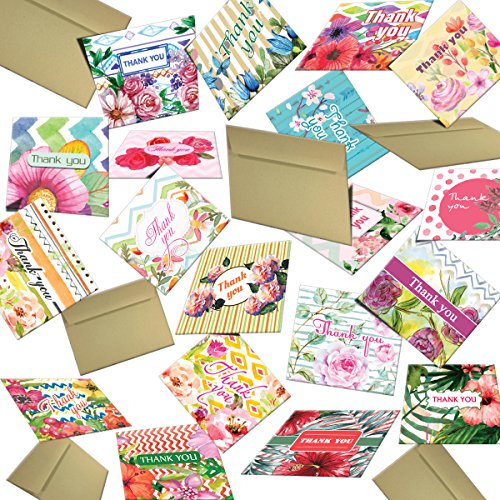 Hatinkaart   Thank You Card   3 46  X 3 07    Set Of 40 Different Double Sided Designs   With 40 Kraft Envelopes   Type Ultra