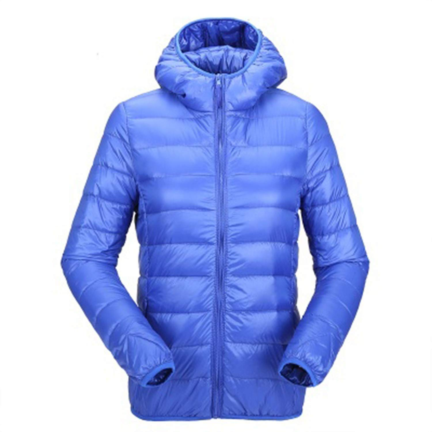 bluee Hooded Winter Coat Duck Down Jackets Casual Slim Fit Long Sleeve Womens Parka Coats