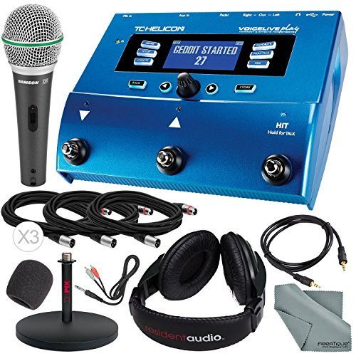 (TC-Helicon VoiceLive Play Vocal Effect Processor Pedal and Deluxe Bundle w/Samson Q6 Mic + Xpix Mic Stand + Headphones + Cables)