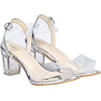 MISTO VagonWomen and Girls Casual and Party Wear Transparent Block Heel Sandals in Transparent Upper