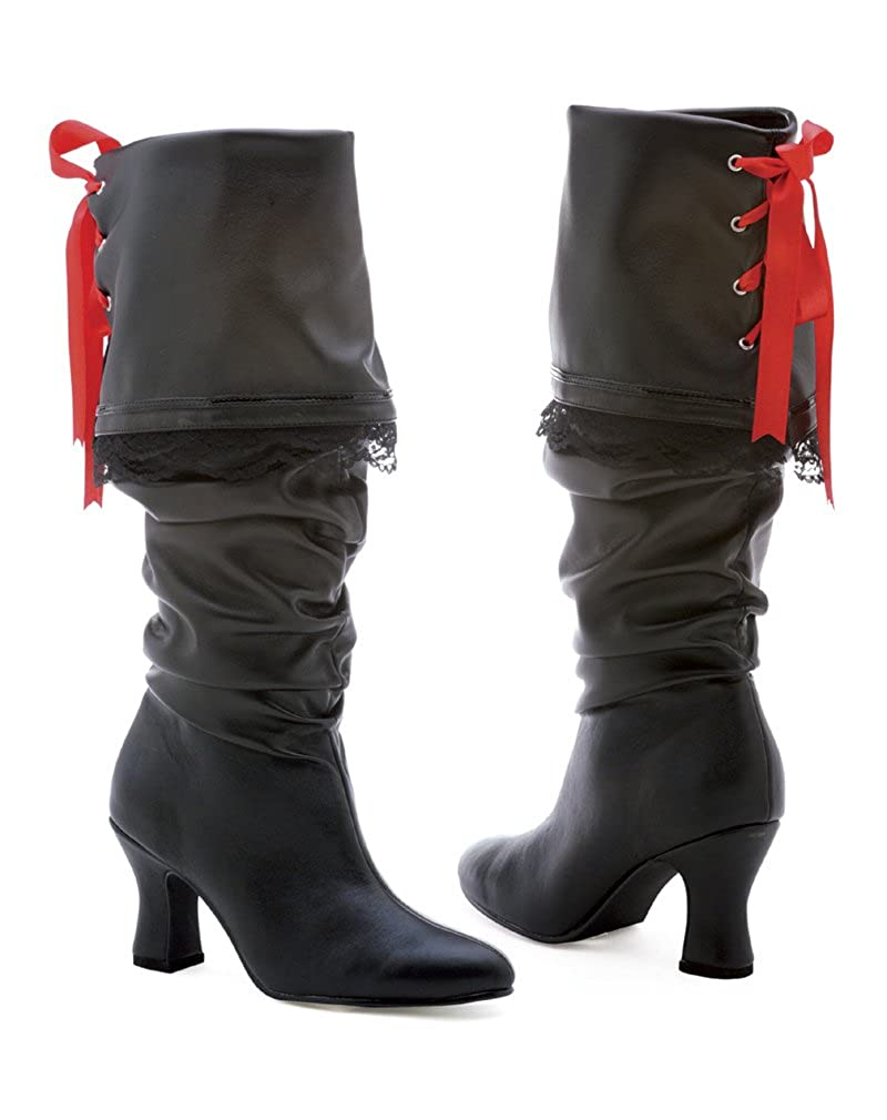 Women's 253 Morgan Knee-High Sexy Slouch Red Ribbon Laced Black Lace Trim Lady Pirate Boot - DeluxeAdultCostumes.com