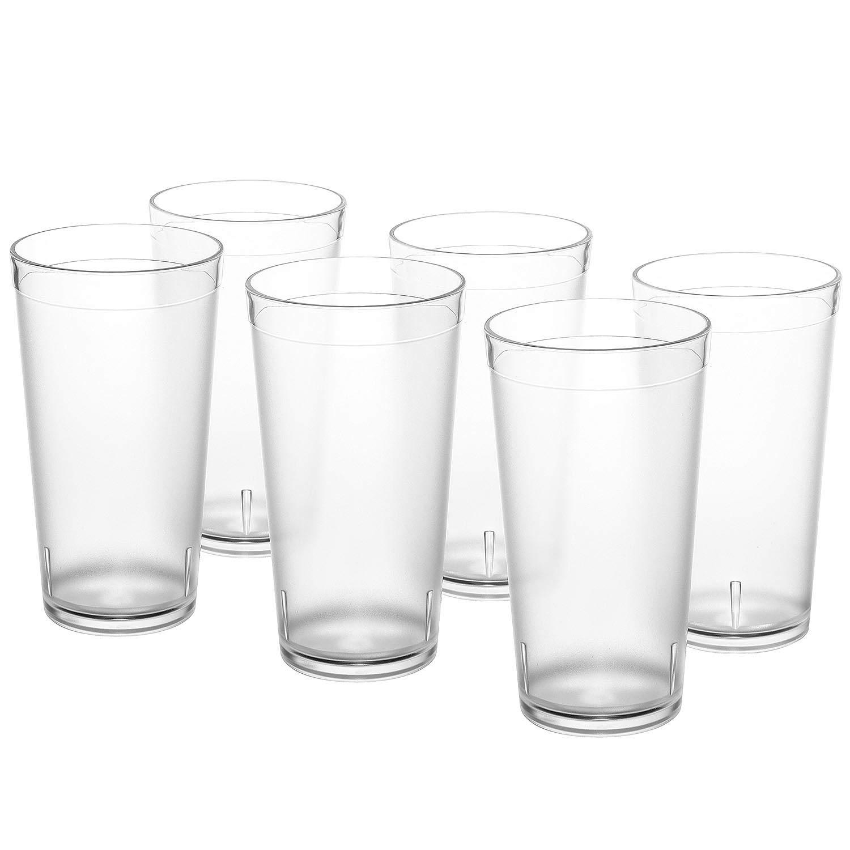 PEMOTech Plastic Glasses, [6 Pack] 16 Oz Restaurant Quality Clear Plastic Glasses Cups Set, 100% BPA-free Unbreakable Glasses Tumbler Dishwasher Safe Plastic Cups Glassware Set