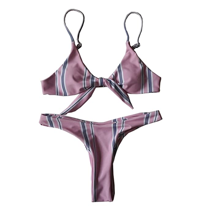 bc74d5ca0b0ed Image Unavailable. Image not available for. Color  Sexy Women Push-up  Padded Bra Bandage Bikini Set Hit Color Striped Bathing Suit