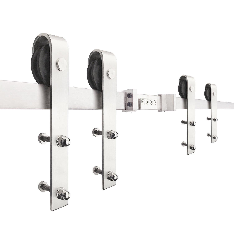 SMARTSTANDARD 16ft Double Door Sliding Barn Door Hardware (Stainless steel) (J Shape Hangers) (2 x8.0 foot Rails)