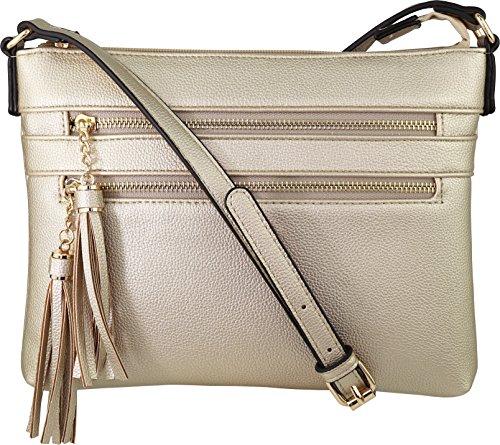 B BRENTANO Vegan Multi-Zipper Crossbody Handbag Purse with Tassel Accents (Gold)