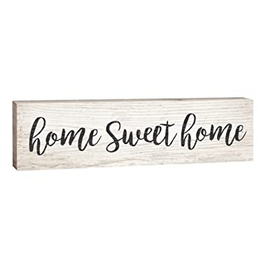 P. GRAHAM DUNN Home Sweet Home Script Design White Wash 2 x 6 Inch Solid Pine Wood Paul Bunyan Toothpick Sign