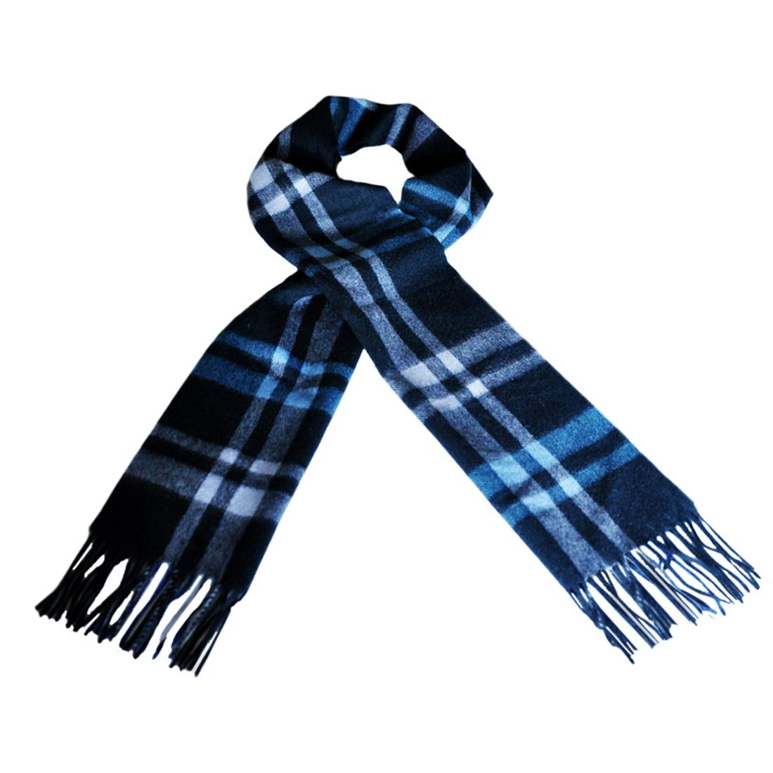 Carrolls Irish Designs Wool Scarf With Blue, Navy & Grey Design 12